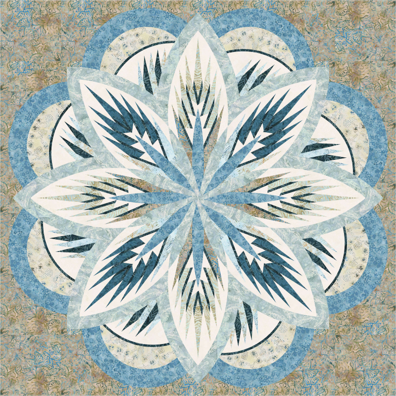 Quilt Kit or Pattern for Sea Holly custom colored in Quiltster in  your preferred colors -  by Judy Niemeyer / Quiltworx 65