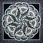 Coral Reef Technique of the Month ( TOM ) Quilt Kit or Pattern - Queen 99x99 - by Quiltworx in Basil mini Collection - Dark version ***Pattern and/or Kit will ship in January 2021***
