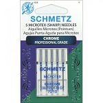 Schmetz Microtex (sharp) Needles Chrome Professional Grade 130/705 H-M CF 70/10  - 5 needles in case